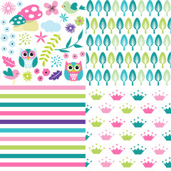 Cute baby girl patterns set