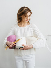Woman with wool yarn