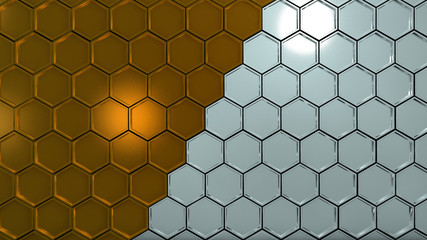 background image in the form of gold and silver hexagons, 3d rendering