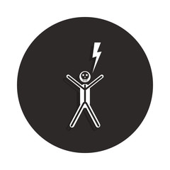 shock electric icon in badge style. One of Death collection icon can be used for UI, UX