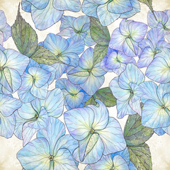 Flowers and leaves of hydrangeas - drawing by watercolor. Seamless pattern. Use printed materials, signs, items, websites, maps, posters, postcards, packaging.