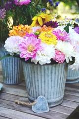 Grußkarte - fröhlich bunter Herbststrauß - Dahlien Blumenstrauß