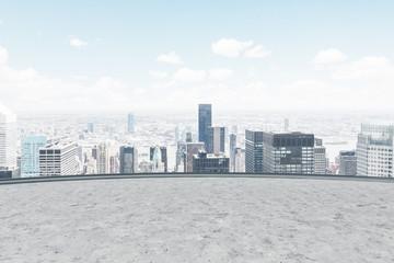 Cityscape seen from a balcony