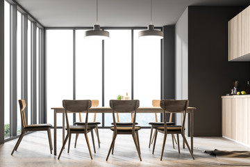 Gray panoramic dining room and kitchen interior