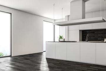 Dark wooden floor kitchen, white counters