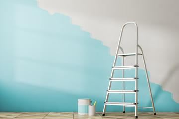 Half painted blue wall, ladder Wall mural
