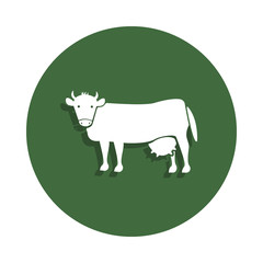 cow icon in badge style. One of Farm collection icon can be used for UI, UX