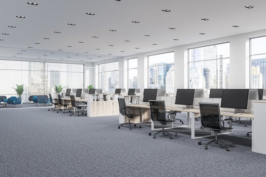 Panoramic company office cubicles in city