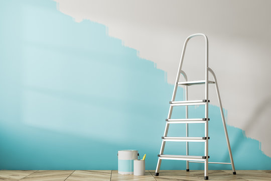 Half painted blue wall, ladder