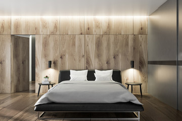 Bedroom interior with wooden walls