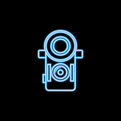 camera icon in neon style. One of photo collection icon can be used for UI, UX