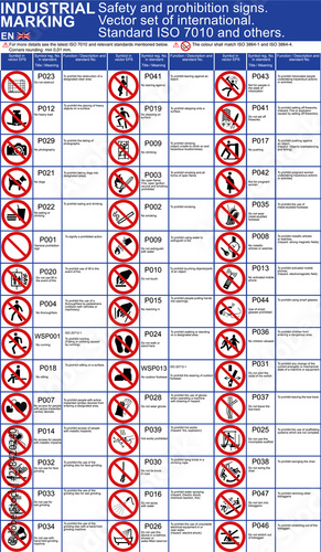 Set Of Safety Signs Prohibition Icons For Buildings Applications