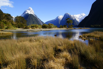 View of the Milford sound mountains, in New Zealand.