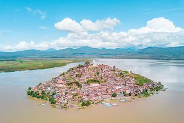 Beautiful view of the Janitzio Island at the Patzcuaro Lake in Michoacan, Mexico  Wall mural