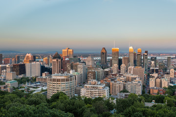 Last light hitting the tops of Montreal's sky scrapers