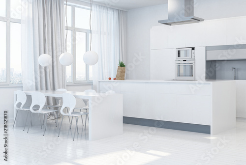moderne wei e k che mit k cheninsel immagini e fotografie royalty free su file. Black Bedroom Furniture Sets. Home Design Ideas
