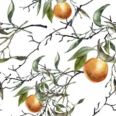 Background of a branch with oranges. Seamless pattern.