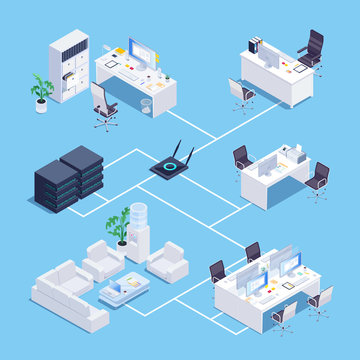 Isometric concept of local network in office.
