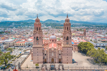 Beautiful view of the Colonial Cathedral of Morelia in Michoacan, Mexico Wall mural