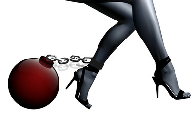 female legs in chains and shackles