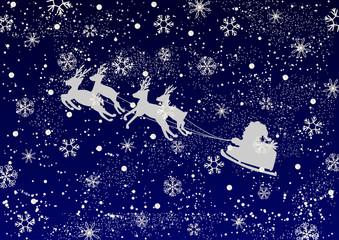 サンタクロース 星空 雪の結晶