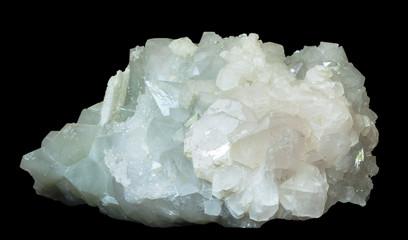 the crystals of calcite and quartz