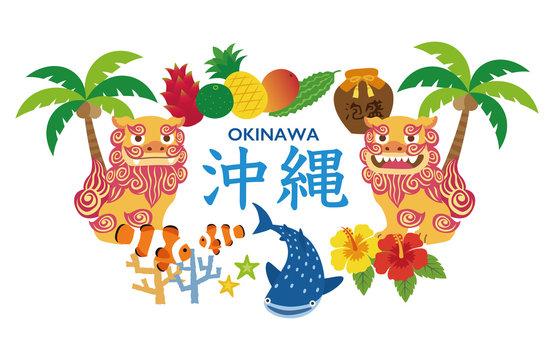 沖縄 観光名物 シーサー ジンベイザメ ゴーヤ イラスト