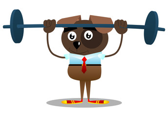 Cartoon illustrated business dog weightlifter lifting barbell.