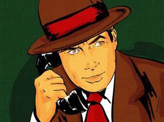 pop art homme chapeau vintage années 50 téléphone, détective,comics