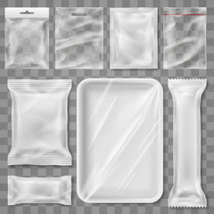 Empty plastic packaging illustration - snack product and food container branding mock up template design isolated background