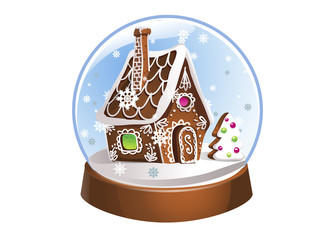 Snow Globe with gingerbread house and snowflakes inside. Christmas decoration. Crystal ball isolated on white background.