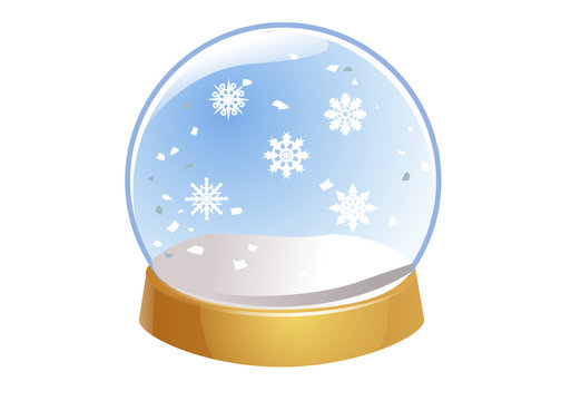 Transparent Snow Globe. Empty glass sphere with snowflakes. Crystal ball isolated on white background.