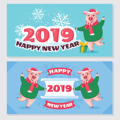 2019 Year of the Pig greeting cards
