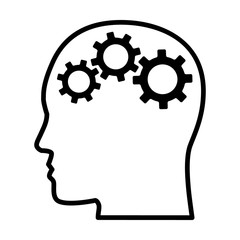 Gears / cogs in head representing critical thinking and intelligent problem solving skills line art vector icon for apps and websites