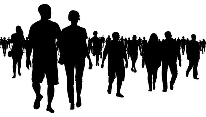 Crowd of people walking silhouette