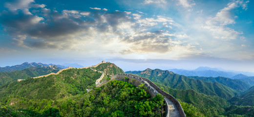 Beautiful Great Wall of China at sunset,panoramic view