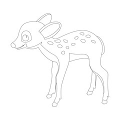 baby  deer cartoon vector illustration   coloring book  profile