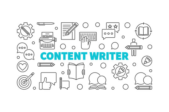 Content writer vector line horizontal illustration or banner