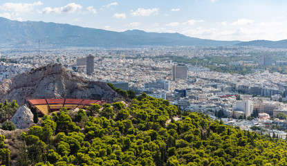 Athens, Greece. Lycabettus open air theatre and city general view