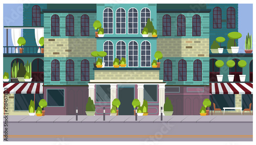 Empty City Street With Beautiful Building And Plants Vector Illustration Summer Day Hotel