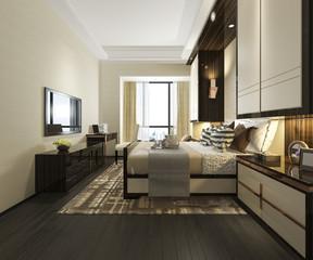 3d rendering beautiful luxury bedroom suite in hotel with tv
