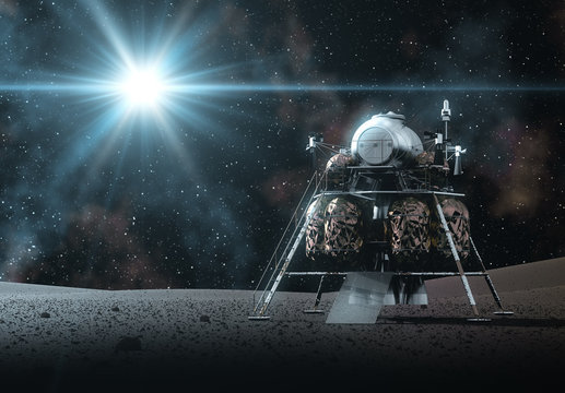Space Lander On The Rays Of Light