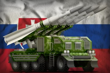 tactical short range ballistic missile with pixel forest camouflage on the Slovakia national flag background. 3d Illustration