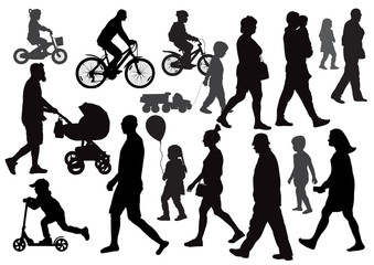 Group of people going (walking) in different directions. Crowd. Silhouettes. Side view.