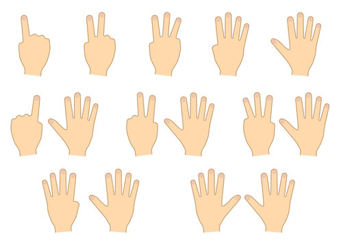 Fingers of hands. Counting, education. Set. Vector illustration
