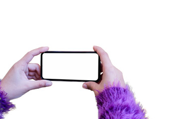 Tourist woman take a photo with blank display smart phone in winter season