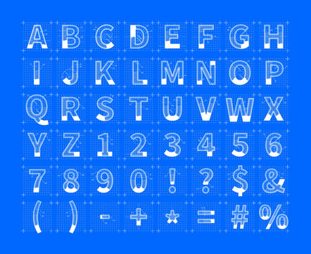 White architectural sketches of english alphabet on blue. Blueprint style font on blue