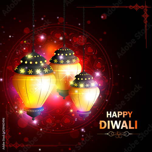 """""""Decorated Hanging Lamp For Happy Diwali Festival Holiday"""