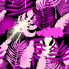 tropical leaves, exotic pattern, seamless background
