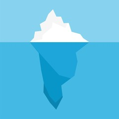 Iceberg floating in the ocean, icon or logo